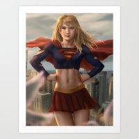 supergirl Art Prints featuring Supergirl by Pat Ventura