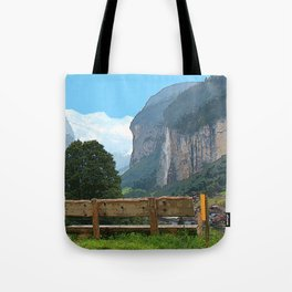 Switzerland alps, Swiss mountains and waterfall. Lauterbrunnen. Tote Bag