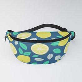 Summer Lemon Pattern in Navy Blue Fanny Pack
