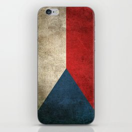 Old and Worn Distressed Vintage Flag of Czech Republic iPhone Skin