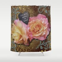 all you need is love Shower Curtains featuring All You Need is Love by Joke Vermeer