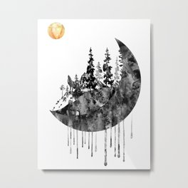 Forest with the Moon and wolf Metal Print