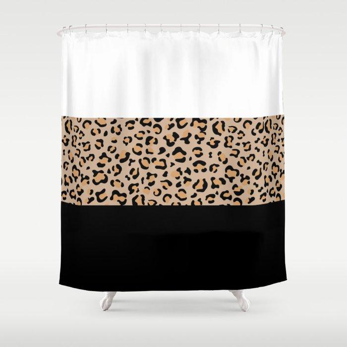 Animal Print, Leopard, Stripes - Brown Black White Shower Curtain