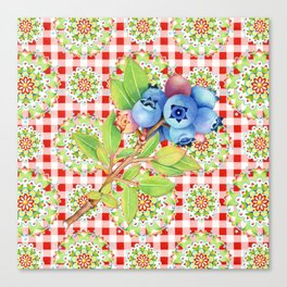 Wild Blueberry Red Gingham Canvas Print