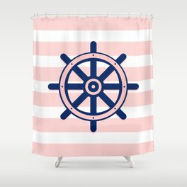 AFE Pink and Navy Helm Wheel Shower Curtain