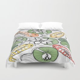 Koi Pond Gathering Duvet Cover