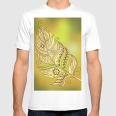 gold feather Mens Fitted Tee MEDIUM White