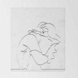 Couple continuous line draw Throw Blanket