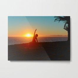 Sunset Yoga Metal Print
