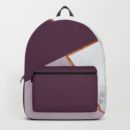 MARBLE PLUM PURPLE LAVENDER COPPER GEOMETRIC Backpack