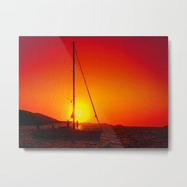 A sailboat at sunset Metal Print