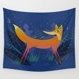 Fox in the Night Forest Wall Tapestry