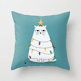 Grumpy Christmas Cat Throw Pillow