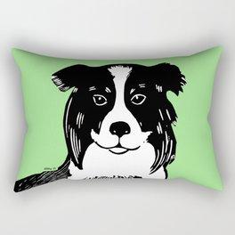 Border Collie Printmaking Art Rectangular Pillow
