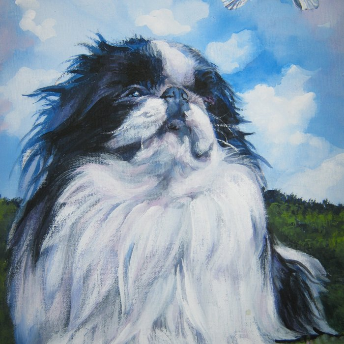 Japanese Chin dog art from an original painting by L.A.Shepard Comforters