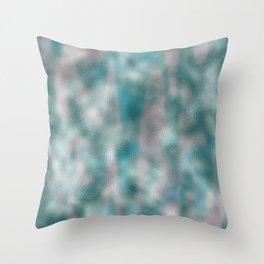Mottled Aqua Silver Foil Throw Pillow
