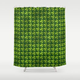 Irish Shamrock -Clover Green Glitter pattern Shower Curtain