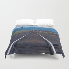 Wrong Side of the Track - Oncoming Train Duvet Cover
