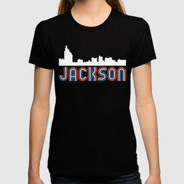 Red White Blue Jackson Mississippi Skyline T-shirt