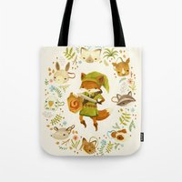 floral Tote Bags featuring The Legend of Zelda: Mammal's Mask by Teagan White