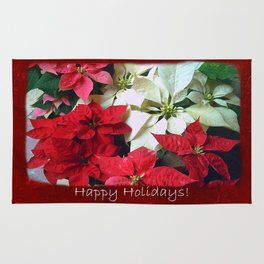 Mixed color Poinsettias 1 Happy Holidays P5F5 Rug