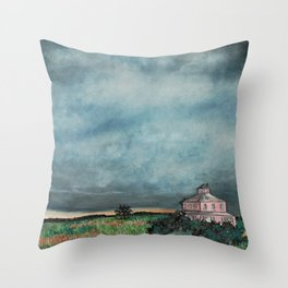 Storm over Pink House Newburyport MA Throw Pillow