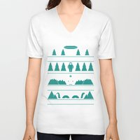 xmas V-neck T-shirts featuring Paranormal Xmas by Teo Zirinis