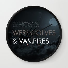 Ghosts, Werewolves & Vampires Wall Clock