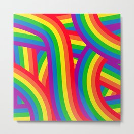 Colorful Rainbow Stripes Pattern Metal Print