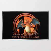 super smash bros Area & Throw Rugs featuring Charizard - Super Smash Bros. by Donkey Inferno