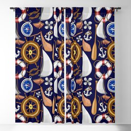 Nautical Marine and Navy Equipment Pattern Blackout Curtain