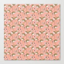Flamingo Family // Peach Canvas Print