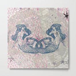 Double Mermaids Metal Print