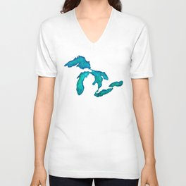 watercolor Great Lakes Unisex V-Neck