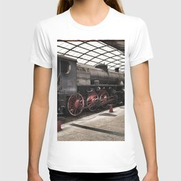 steam locomotive inside the train station T-shirt