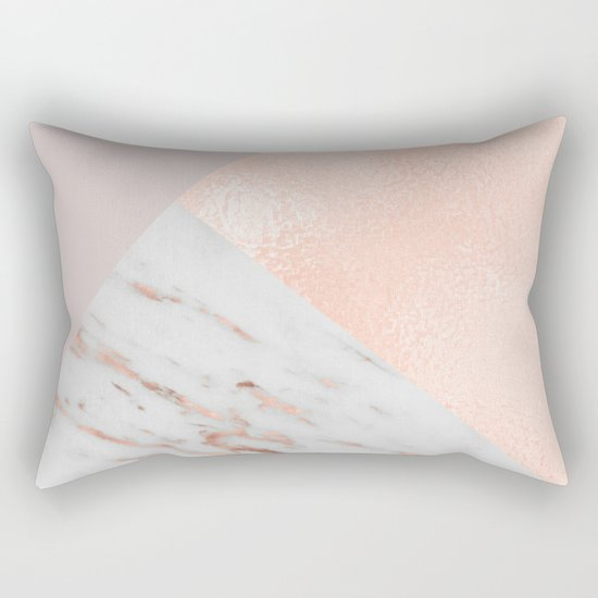 Blush pink layers of rose gold and marble Rectangular Pillow