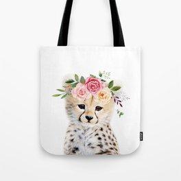 Baby Cheetah with Flower Crown Tote Bag