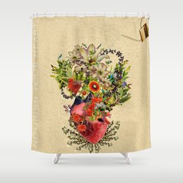 Nourish Your Heart by Kooky Collages Shower Curtain