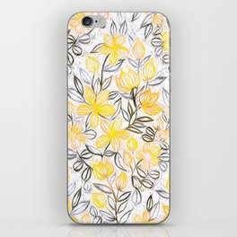Sunny Yellow Crayon Striped Summer Floral iPhone Skin