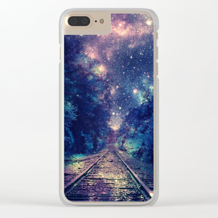 """Dream Train Tracks : """"Next Stop, Anywhere"""" Clear iPhone Case"""
