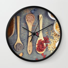 Breakfast set with granola, almond milk, superfoods and berries Wall Clock