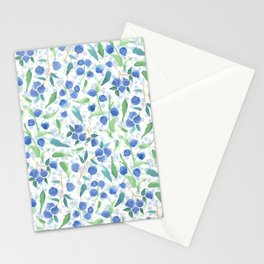 Watercolor Blueberries Stationery Cards