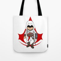 assassins creed Tote Bags featuring Altaïr Ibn-La'Ahad: Assassins Creed Chibi by SushiKitteh'sCreations