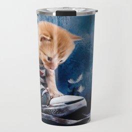 Cute kitten plays in sneakers Travel Mug