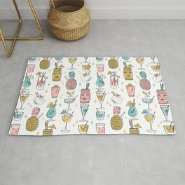 Tropical cocktails summer drinks pineapple tiki bar pattern by andrea lauren Rug