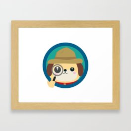 Dog detective with magnifying glass Framed Art Print