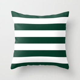 Sacramento green - solid color - white stripes pattern Throw Pillow