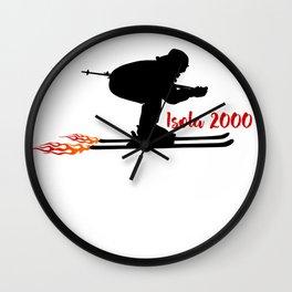Ski speeding at Isola 2000 Wall Clock