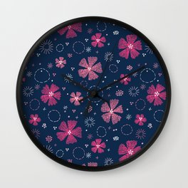 Carthusian Pink Embroidery Wall Clock
