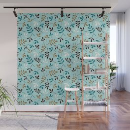 Assorted Leaf Silhouettes Teals Cream Brown Gold Ptn Wall Mural